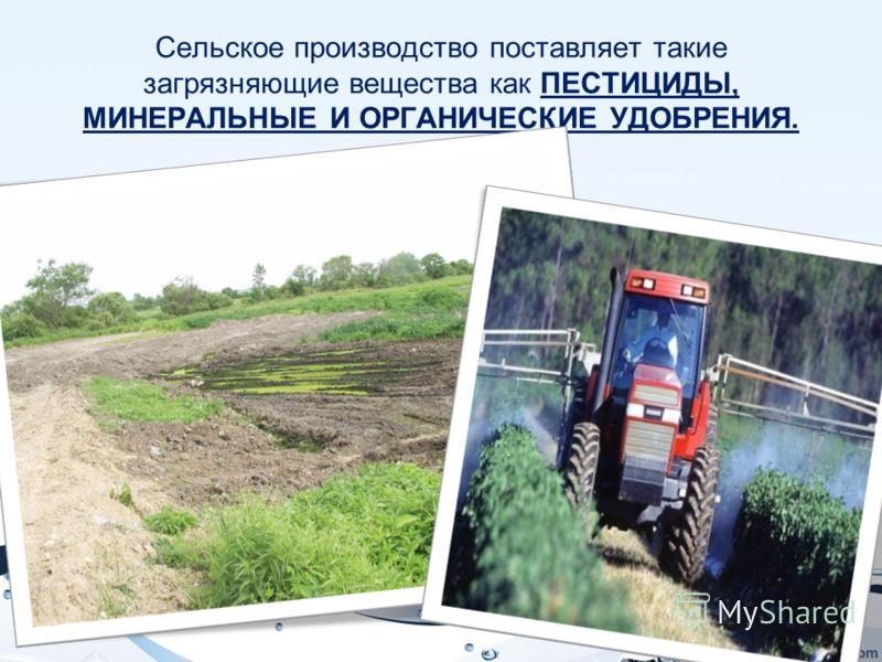 Сельское производство поставляет такие загрязняющие вещества как ПЕСТИЦИДЫ, МИНЕРАЛЬНЫЕ И ОРГАНИЧЕСКИЕ УДОБРЕНИЯ.