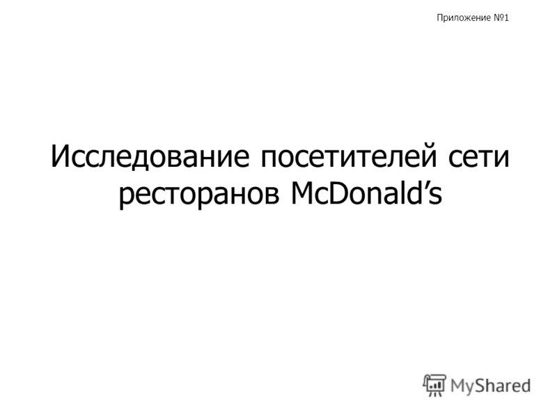 Исследование посетителей сети ресторанов McDonalds Приложение 1