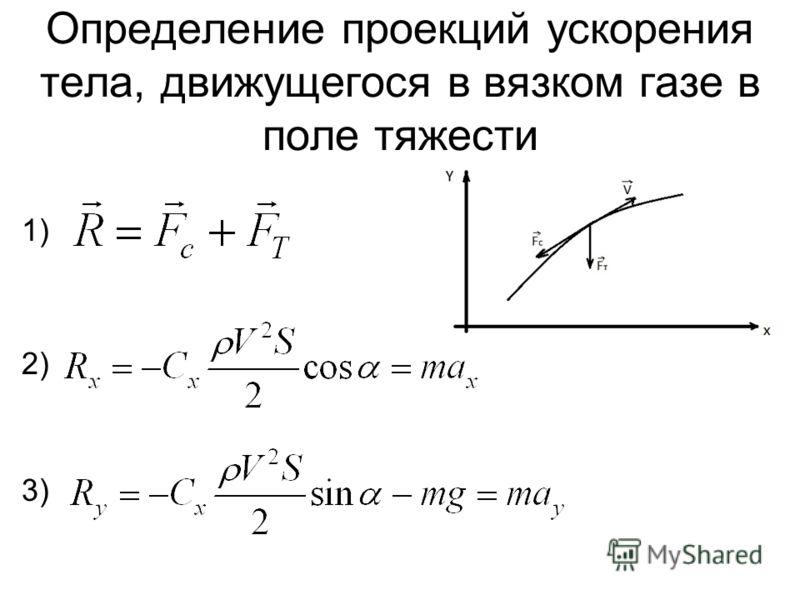 Определение проекций ускорения тела, движущегося в вязком газе в поле тяжести 1) 2) 3)