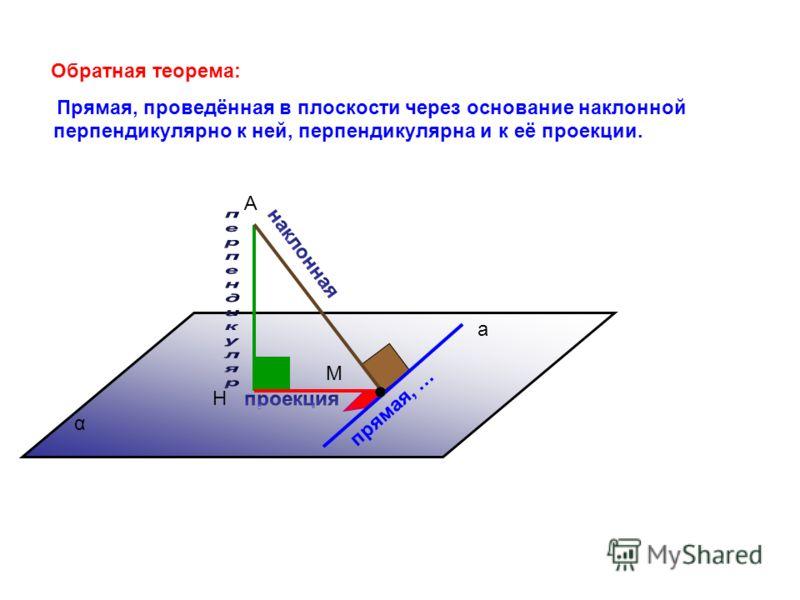 а А Н М α Обратная теорема: Прямая, проведённая в плоскости через основание наклонной перпендикулярно к ней, перпендикулярна и к её проекции. прямая, …