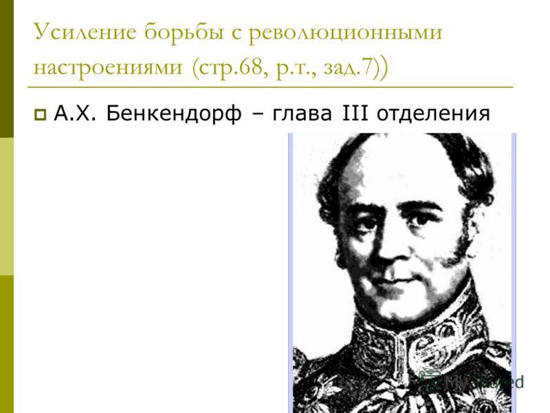 Усиление борьбы с революционными настроениями (стр.68, р.т., зад.7) ) А.Х. Бенкендорф – глава III отделения