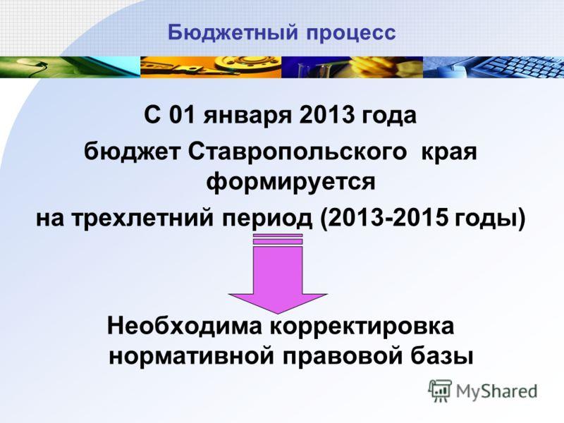 Бюджетный процесс С 01 января 2013 года бюджет Ставропольского края формируется на трехлетний период (2013-2015 годы) Необходима корректировка нормативной правовой базы