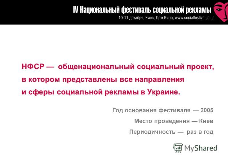 НФСР общенациональный социальный проект, в котором представлены все направления и сферы социальной рекламы в Украине. Год основания фестиваля 2005 Место проведения Киев Периодичность раз в год