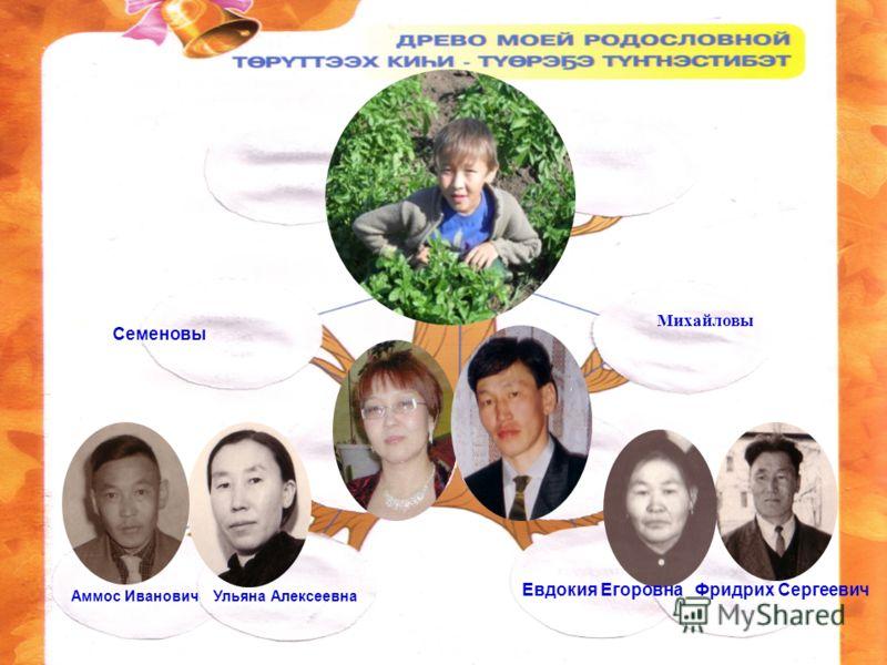 Аммос Иванович Ульяна Алексеевна Евдокия Егоровна Фридрих Сергеевич Семеновы Михайловы