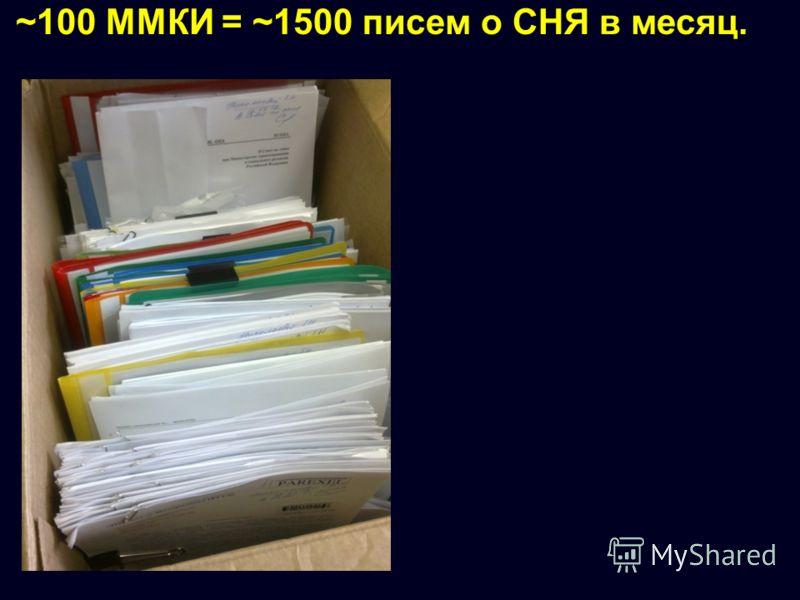 ~100 ММКИ = ~1500 писем о СНЯ в месяц.