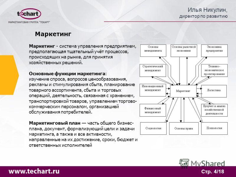 Илья Никулин, директор по развитию Стр. 4/18 Маркетинг Маркетинг - система управления предприятием, предполагающая тщательный учёт процессов, происходящих на рынке, для принятия хозяйственных решений. Основные функции маркетинга: изучение спроса, воп