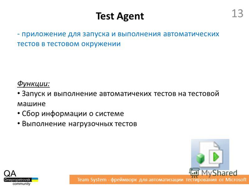 - приложение для запуска и выполнения автоматических тестов в тестовом окружении Функции: Запуск и выполнение автоматических тестов на тестовой машине Сбор информации о системе Выполнение нагрузочных тестов Test Agent 13 Team System - фреймворк для а