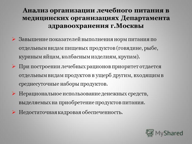 Анализ организации лечебного питания в медицинских организациях Департамента здравоохранения г.Москвы 10 городских клинических больниц, Морозовская детская городская клиническая больница и детская городская клиническая больница Святого Владимира. Осн