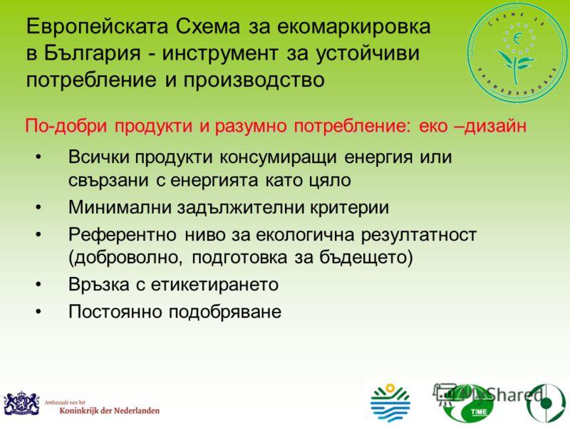 По-добри продукти и разумно потребление: еко –дизайн Всички продукти консумиращи енергия или свързани с енергията като цяло Минимални задължителни критерии Референтно ниво за екологична резултатност (доброволно, подготовка за бъдещето) Връзка с етике