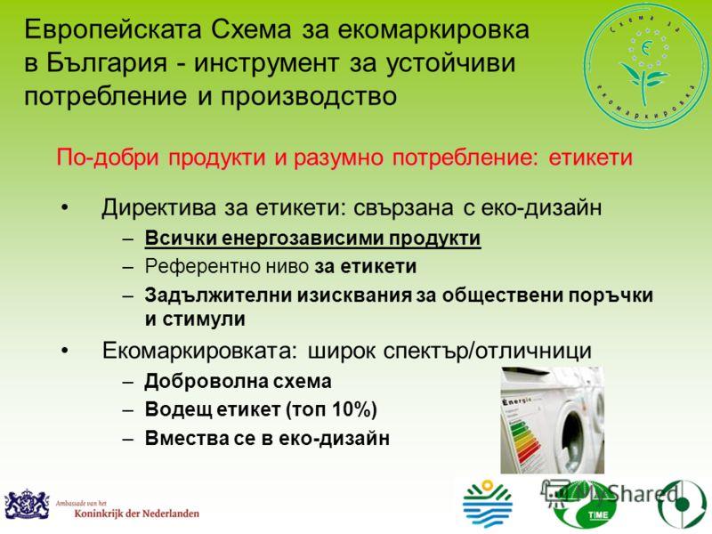 Директива за етикети: свързана с еко-дизайн –Всички енергозависими продукти –Референтно ниво за етикети –Задължителни изисквания за обществени поръчки и стимули Екомаркировката: широк спектър/отличници –Доброволна схема –Водещ етикет (топ 10%) –Вмест