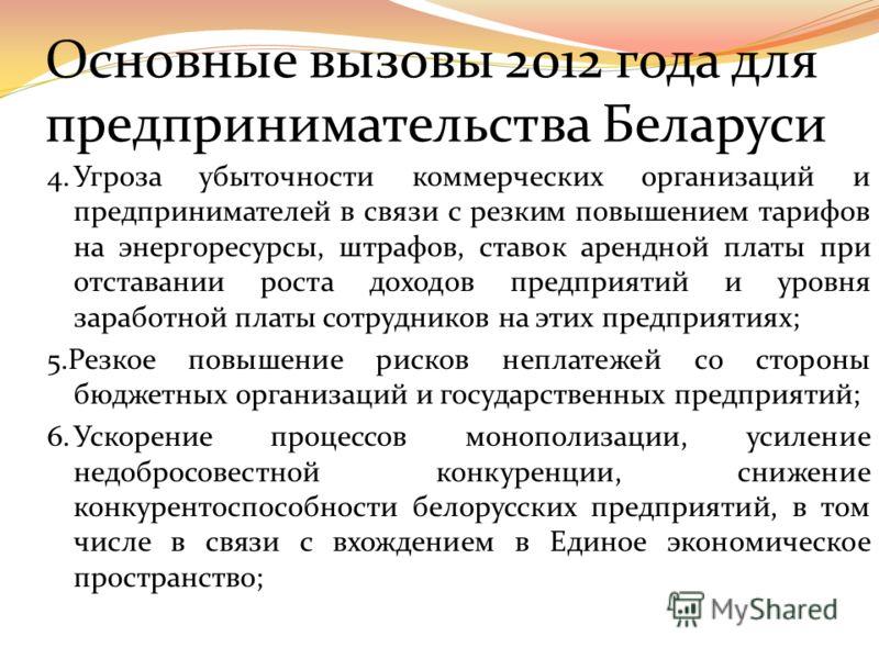Основные вызовы 2012 года для предпринимательства Беларуси: 1.Стремительное падение покупательской способности населения, уменьшение возможностей отечественного бизнеса на внутреннем рынке; 2.Угроза выезда на заработки за границу значительной части м