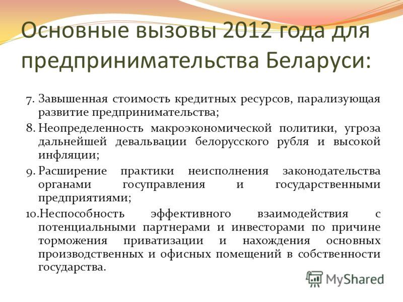 Основные вызовы 2012 года для предпринимательства Беларуси 4.Угроза убыточности коммерческих организаций и предпринимателей в связи с резким повышением тарифов на энергоресурсы, штрафов, ставок арендной платы при отставании роста доходов предприятий
