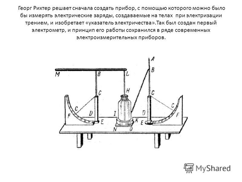 Георг Рихтер решает сначала создать прибор, с помощью которого можно было бы измерять электрические заряды, создаваемые на телах при электризации трением, и изобретает «указатель электричества».Так был создан первый электрометр, и принцип его работы