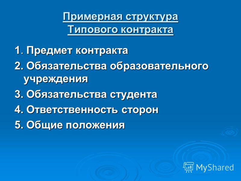 Примерная структура Типового контракта 1. Предмет контракта 2. Обязательства образовательного учреждения 3. Обязательства студента 4. Ответственность сторон 5. Общие положения