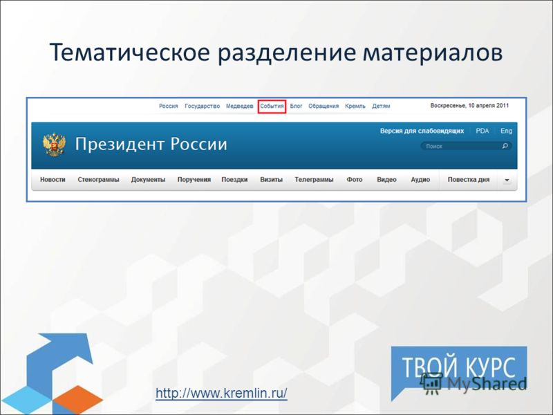 Тематическое разделение материалов http://www.kremlin.ru/
