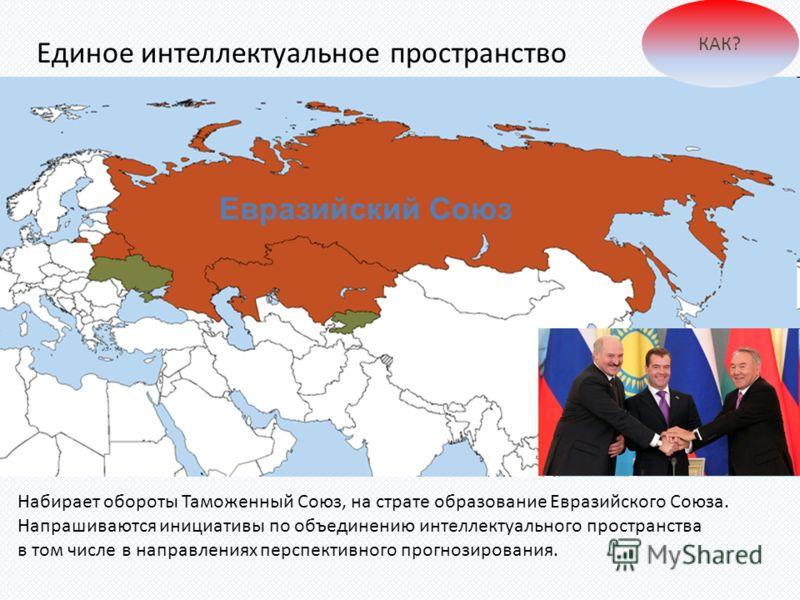 Набирает обороты Таможенный Союз, на страте образование Евразийского Союза. Напрашиваются инициативы по объединению интеллектуального пространства в том числе в направлениях перспективного прогнозирования. Евразийский Союз Единое интеллектуальное про