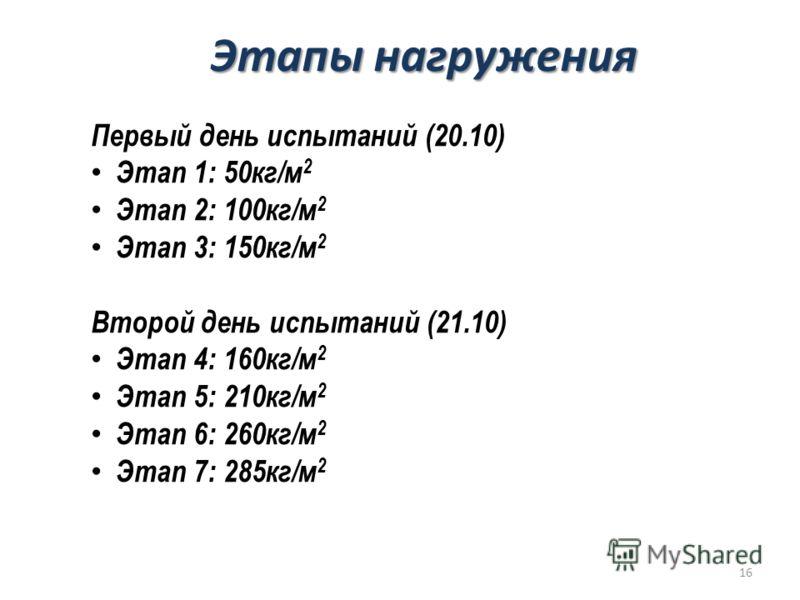 Этапы нагружения Первый день испытаний (20.10) Этап 1: 50кг/м 2 Этап 2: 100кг/м 2 Этап 3: 150кг/м 2 Второй день испытаний (21.10) Этап 4: 160кг/м 2 Этап 5: 210кг/м 2 Этап 6: 260кг/м 2 Этап 7: 285кг/м 2 16