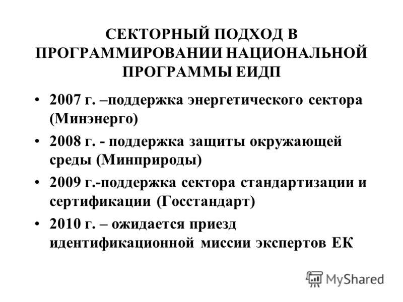 СЕКТОРНЫЙ ПОДХОД В ПРОГРАММИРОВАНИИ НАЦИОНАЛЬНОЙ ПРОГРАММЫ ЕИДП 2007 г. –поддержка энергетического сектора (Минэнерго) 2008 г. - поддержка защиты окружающей среды (Минприроды) 2009 г.-поддержка сектора стандартизации и сертификации (Госстандарт) 2010