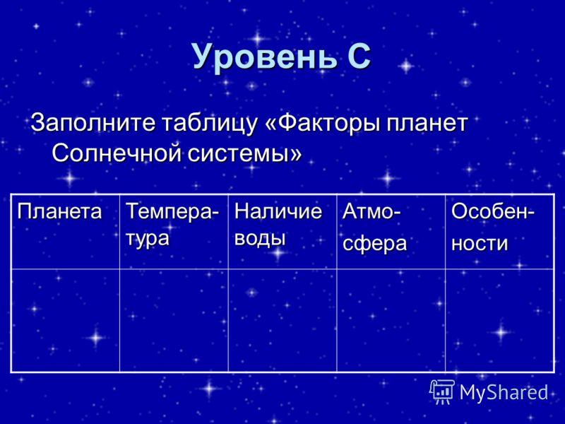 Уровень С Заполните таблицу «Факторы планет Солнечной системы» Планета Темпера- тура Наличие воды Атмо-сфераОсобен-ности