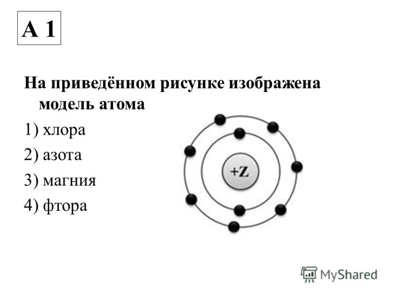 На приведённом рисунке изображена модель атома 1) хлора 2) азота 3) магния 4) фтора А 1