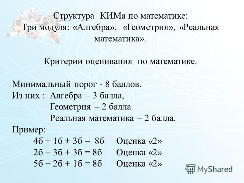 15 Структура КИМа по математике: Три модуля: «Алгебра», «Геометрия», «Реальная математика». Критерии оценивания по математике. Минимальный порог - 8 баллов. Из них : Алгебра – 3 балла, Геометрия – 2 балла Реальная математика – 2 балла. Пример: 4б + 1