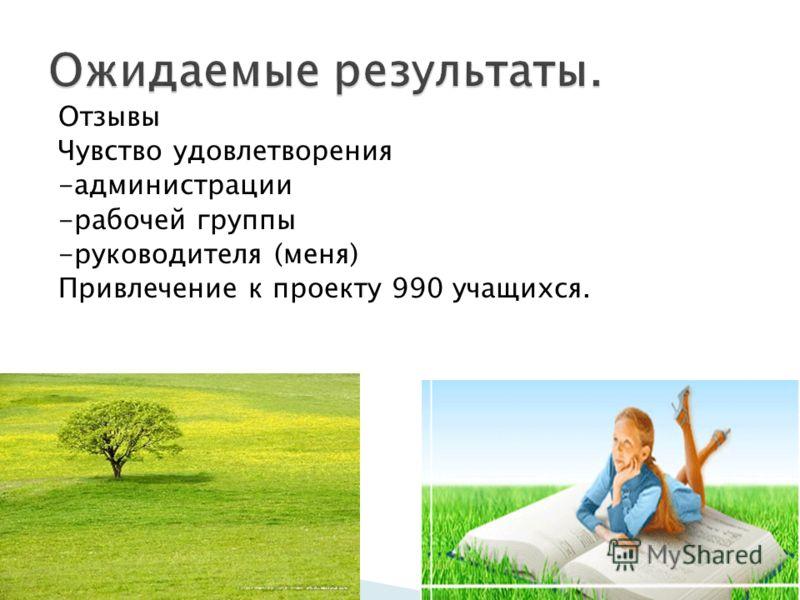 Отзывы Чувство удовлетворения -администрации -рабочей группы -руководителя (меня) Привлечение к проекту 990 учащихся.