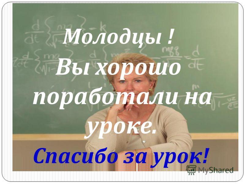 Молодцы ! Вы хорошо поработали на уроке. Спасибо за урок !
