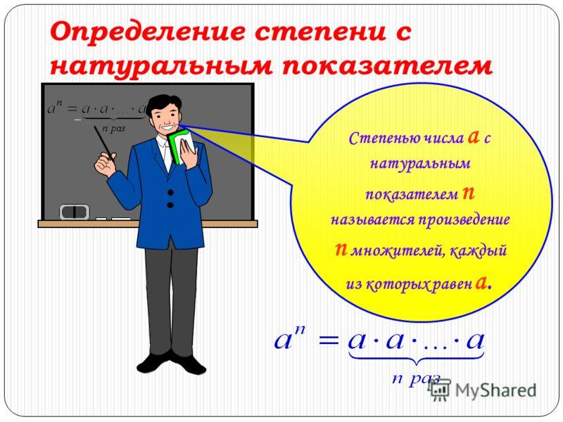 Определение степени с натуральным показателем Степенью числа a с натуральным показателем n называется произведение n множителей, каждый из которых равен a.