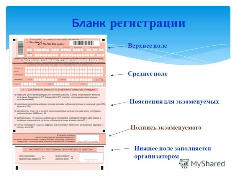 Бланк регистрации Верхнее поле Среднее поле Пояснения для экзаменуемых Нижнее поле заполняется организатором Подпись экзаменуемого