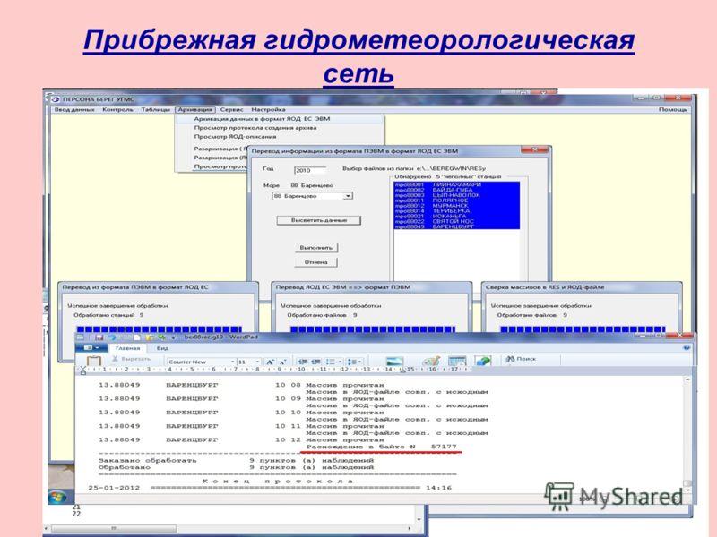Прибрежная гидрометеорологическая сеть Развитие системы ПЕРСОНА БЕРЕГ, совершенствование сервисных функций, синтаксического и семантического контроля, а также контроля на этапе архивации данных. Разработаны: - программа сверки двоичного файла промежу