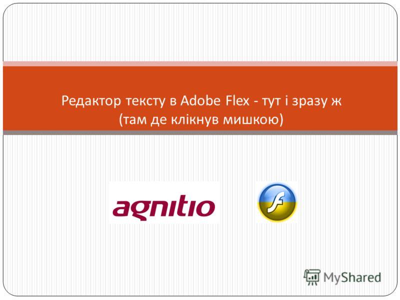 Редактор тексту в Adobe Flex - тут і зразу ж ( там де клікнув мишкою )