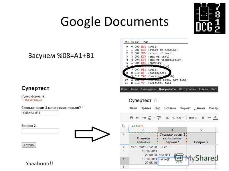 Google Documents Засунем %08=A1+B1 Yaaahooo!!