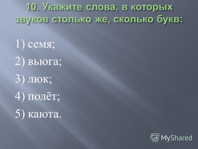 1) семя ; 2) вьюга ; 3) люк ; 4) полёт ; 5) каюта.