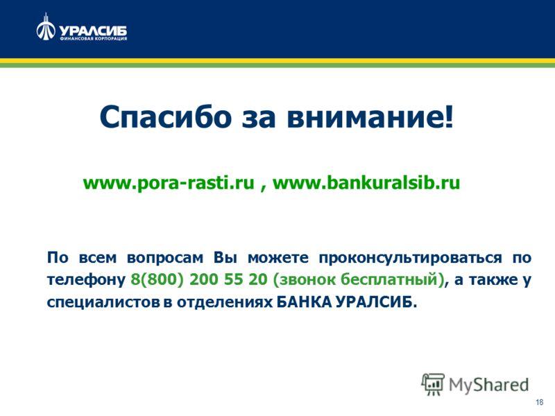 18 Спасибо за внимание! www.pora-rasti.ru, www.bankuralsib.ru По всем вопросам Вы можете проконсультироваться по телефону 8(800) 200 55 20 (звонок бесплатный), а также у специалистов в отделениях БАНКА УРАЛСИБ.