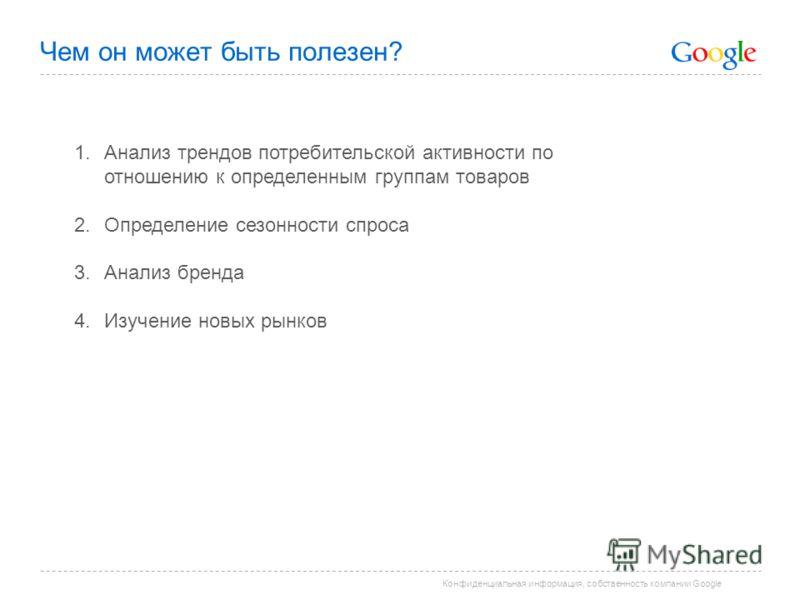 Конфиденциальная информация, собственность компании Google Чем он может быть полезен? 1. Анализ трендов потребительской активности по отношению к определенным группам товаров 2. Определение сезонности спроса 3. Анализ бренда 4. Изучение новых рынков