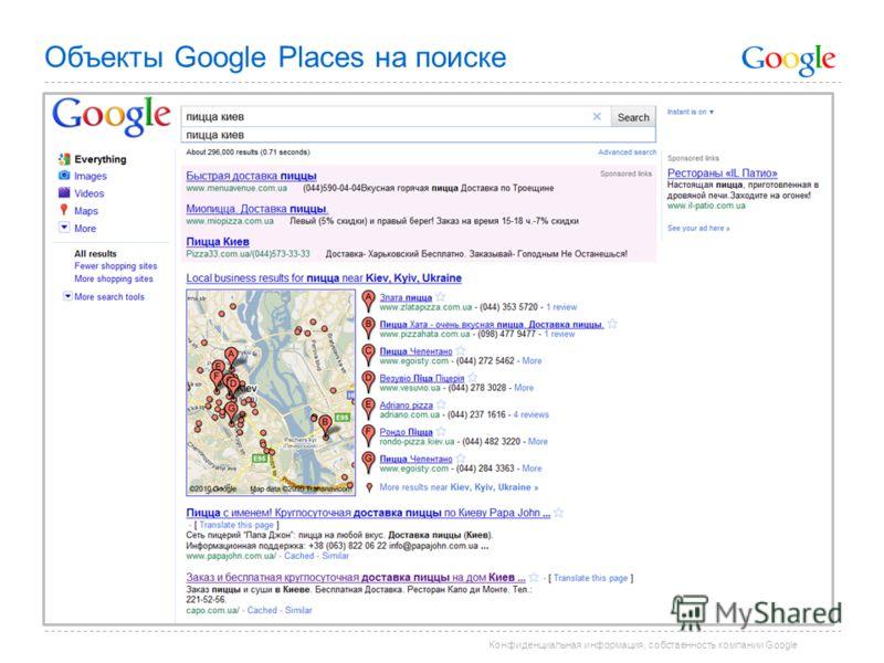 Конфиденциальная информация, собственность компании Google Объекты Google Places на поиске