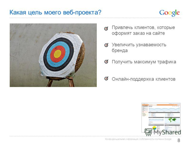 Конфиденциальная информация, собственность компании Google Какая цель моего веб-проекта? 8 Привлечь клиентов, которые оформят заказ на сайте Увеличить узнаваемость бренда Получить максимум трафика Онлайн-поддержка клиентов