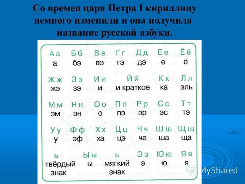 Со времен царя Петра I кириллицу немного изменили и она получила название русской азбуки.