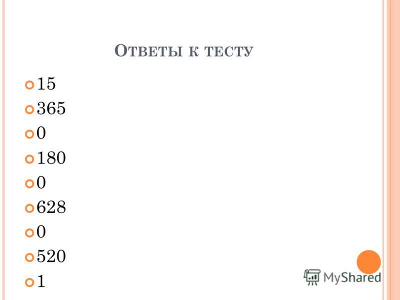 О ТВЕТЫ К ТЕСТУ 15 365 0 180 0 628 0 520 1