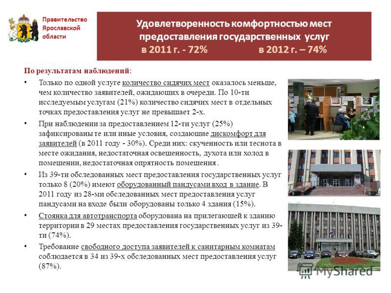 Удовлетворенность комфортностью мест предоставления государственных услуг в 2011 г. - 72% в 2012 г. – 74% Правительство Ярославской области По результатам наблюдений: Только по одной услуге количество сидячих мест оказалось меньше, чем количество зая