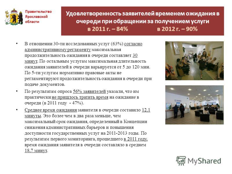 Правительство Ярославской области В отношении 30-ти исследованных услуг (63%) согласно административному регламенту максимальная продолжительность ожидания в очереди составляет 30 минут. По остальным услугам максимальная длительность ожидания заявите
