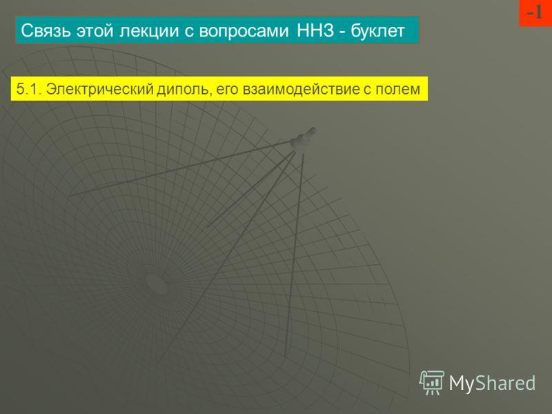 Связь этой лекции с вопросами ННЗ - буклет 5.1. Электрический диполь, его взаимодействие с полем