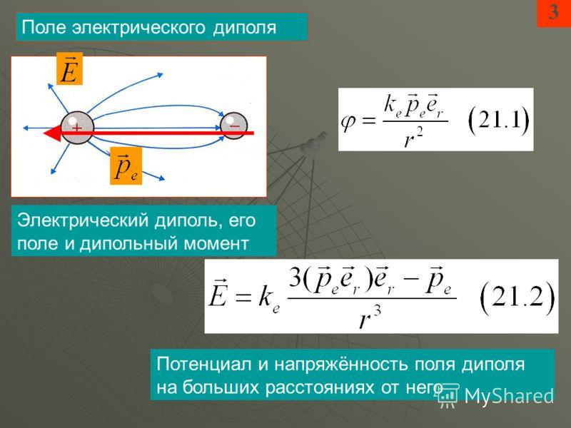 3 Поле электрического диполя Электрический диполь, его поле и дипольный момент Потенциал и напряжённость поля диполя на больших расстояниях от него