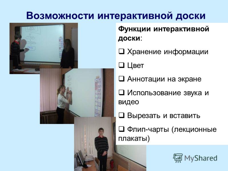 Возможности интерактивной доски Функции интерактивной доски: Хранение информации Цвет Аннотации на экране Использование звука и видео Вырезать и вставить Флип-чарты (лекционные плакаты)