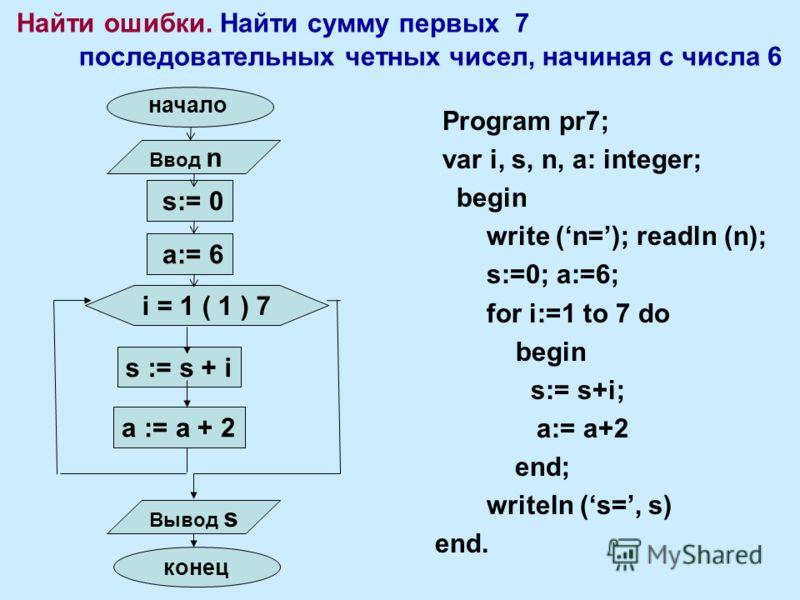 Найти ошибки. Найти сумму первых 7 последовательных четных чисел, начиная с числа 6 Program pr7; var i, s, n, a: integer; begin write (n=); readln (n); s:=0; a:=6; for i:=1 to 7 do begin s:= s+i; a:= a+2 end; writeln (s=, s) end. i = 1 ( 1 ) 7 s := s