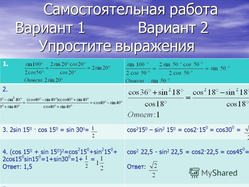 Самостоятельная работа Вариант 1 Вариант 2 Упростите выражения Самостоятельная работа Вариант 1 Вариант 2 Упростите выражения 1. 2. 3. 2sin 15 0 · cos 15 0 = sin 30 0 = cos 2 15 0 – sin 2 15 0 = cos2·15 0 = cos30 0 = 4. (cos 15 0 + sin 15 0 ) 2 =cos