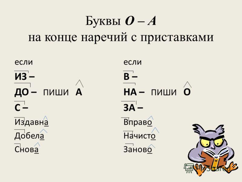 Буквы О – А на конце наречий с приставками если ИЗ – ДО – ПИШИ А С – Издавна Добела Снова если В – НА – ПИШИ О ЗА – Вправо Начисто Заново