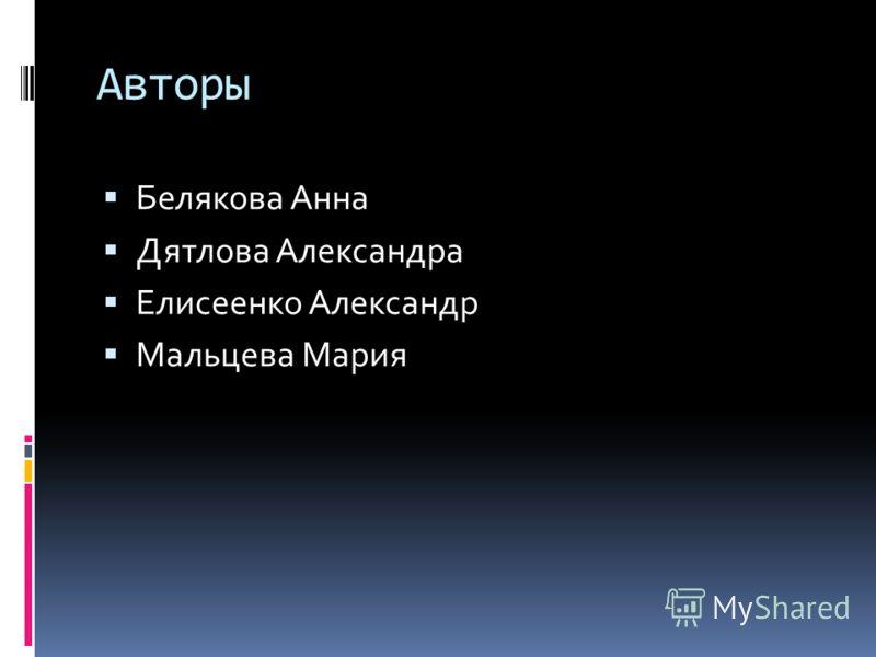 Авторы Белякова Анна Дятлова Александра Елисеенко Александр Мальцева Мария