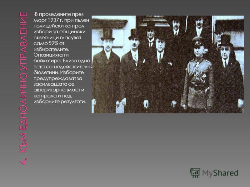 В проведените през март 1937 г. при пълен полицейски контрол избори за общински съветници гласуват само 59% от избирателите. Опозицията ги бойкотира. Близо една пета са недействителни бюлетини. Изборите предупреждават за засилващата се авторитарна вл