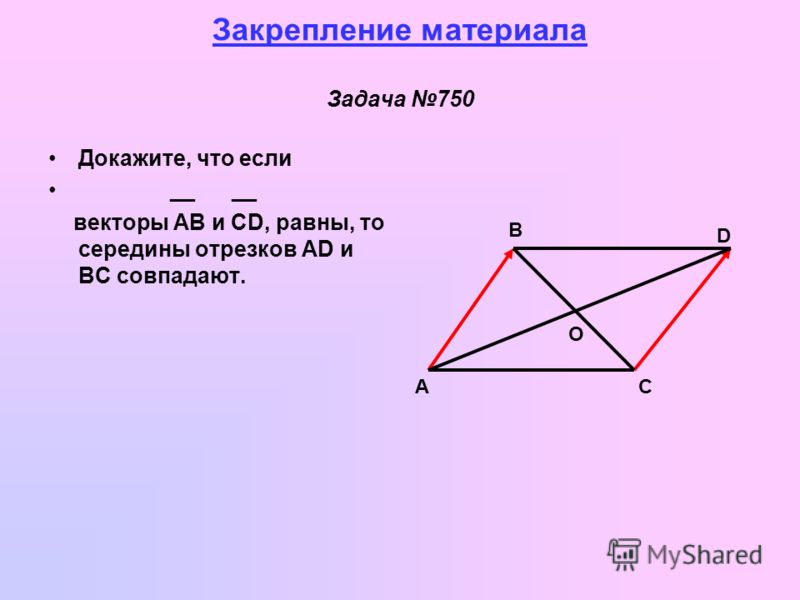 Закрепление материала Задача 750 Докажите, что если __ __ векторы AB и CD, равны, то середины отрезков AD и BC совпадают. А B D C O